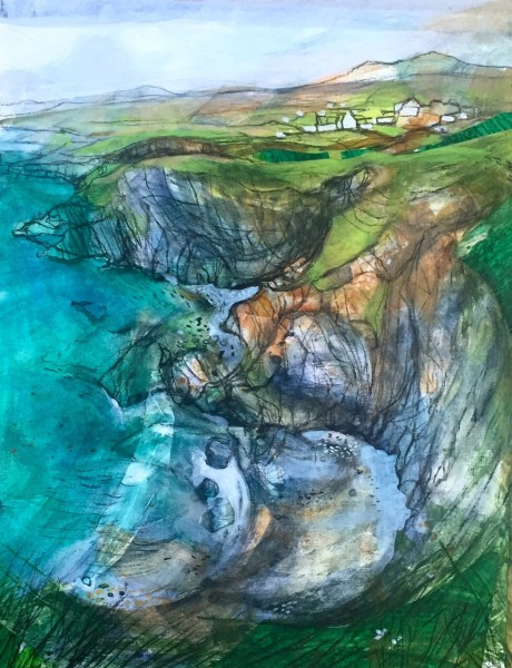 Mark Raggett Porth Y Bwch - Solva Beyond mixed media Frame: 71 x 61 cm Artwork: 48 x 38 cm