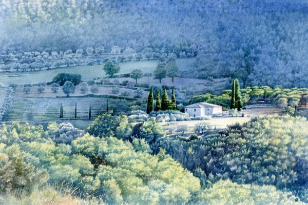 Liz Butler Late Afternoon Sun in Umbria watercolour 40x30cm