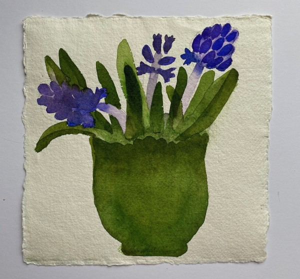 Jill Leman Hyacinths in my Green Bowl watercolour on khadi paper 21 x 21cm