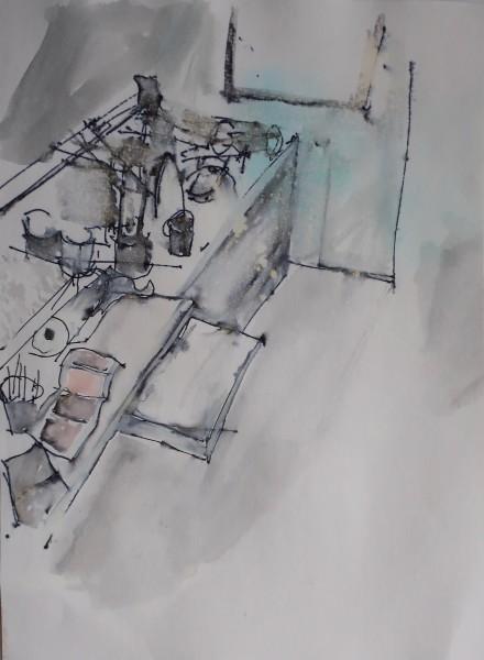 David Hamilton Opposite Corner ink & watercolour 43x33cm