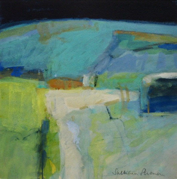 Salliann Putman Remembering the Blue Hills watercolour Frame: 41 x 41 cm Artwork: 25 x 25 cm
