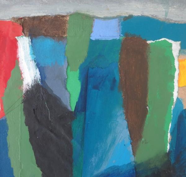 Martin Leman Landscape acrylic collage Frame: 31 x 31 cm Artwork: 15 x 15 cm