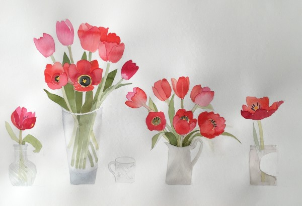 Jill Leman Tulips on my Table acrylic 33x33cm