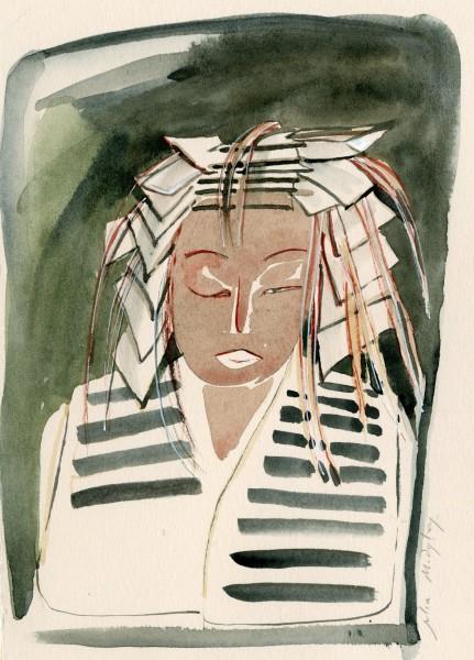 Julia Midgley Hair Appointment watercolour Frame: 34 x 29 cm Artwork: 27 x 20 cm