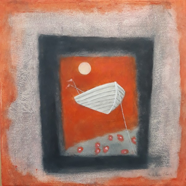 Caroline McAdam Clark Ex Voto, Fishing Boat oil on canvas Frame: 40 x 40 cm Artwork: 30 x 30 cm