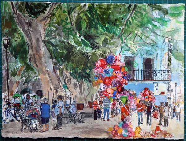 Peter Quinn Balloons and Bubbles, Oaxaca, Mexico watercolour Frame: 50 x 60 cm Artwork: 28 x 38 cm
