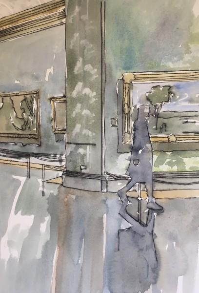 Thomas Plunkett National Portrait Gallery II ink & watercolour Frame: 53 x 43 cm Artwork: 42 x 29 cm