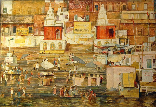 Stuart Robertson Varanasi Two Temples watercolour 87x11cm