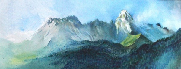 Neil Pittaway Mount Ushba from near Becho Georgia Caucasus watercolour Frame: 45 x 89 cm Artwork: 31 x 76 cm