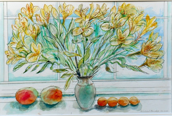 Richard Bawden Yellow Alstroemeria watercolour Frame: 57 x 73 cm Artwork: 34 x 52 cm
