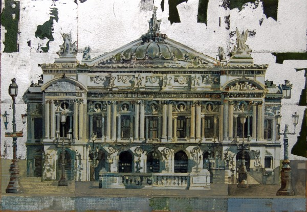 Stuart Robertson Paris Opera House watercolour & silver leaf Artwork: 34 x 23cm