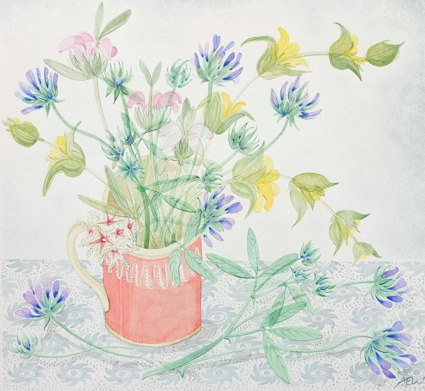 Angie Lewin Pink Cup with Pitch Trefoil and Phlomis watercolour 28.5x31cm