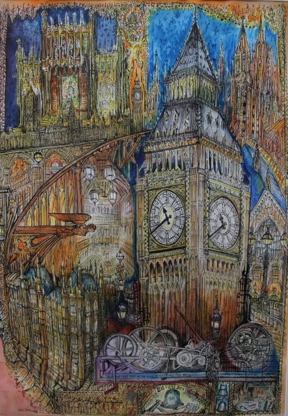 Neil Pittaway The Jewel of Westminster watercolour, pen & ink 117x86cm