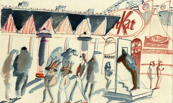 Julia Midgley Kit Kat Radio watercolour & acrylic ink Artwork: 24 x 39 cm Frame: 44 x 55 cm