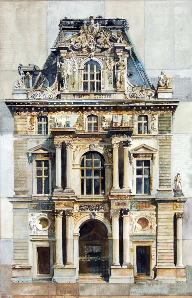 Stuart Robertson Louvre Pavilion Mollien Paris watercolour & collage Frame: 78 x 59 cm Artwork: 56 x 37 cm