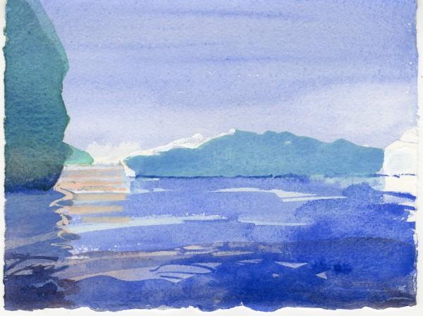Simon Pierse Icebergs, Ilulissat II watercolour Frame: 31 x 35 cm Artwork: 14 x 19 cm