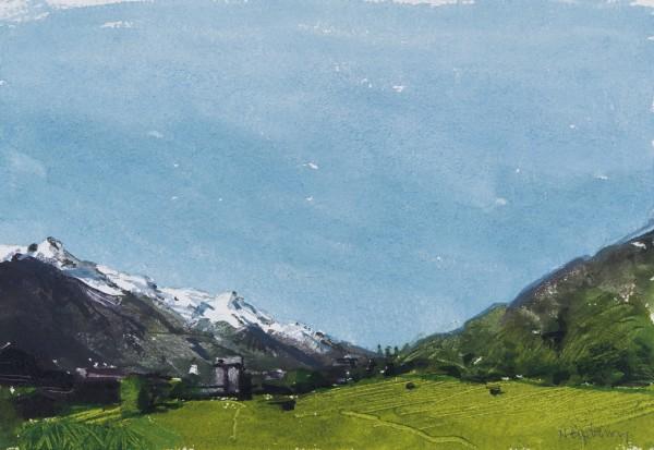 John Newberry Mont Blanc from Chamonix watercolour Frame: 38 x 44 cm Artwork: 15 x 21.5 cm