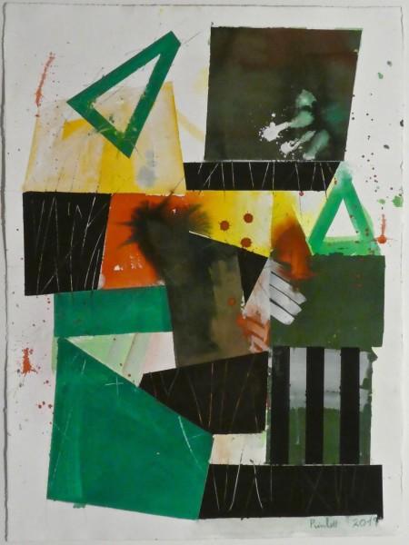 Geoffrey Pimlott The Green Triangle watercolour & gouache Frame: 86 x 64 cm Artwork: 76 x 56 cm