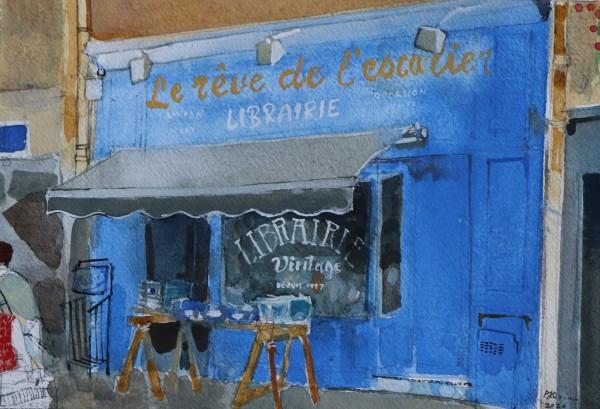 Peter Quinn Rouen, Bookshop watercolour on paper Frame: 36 x 43 cm