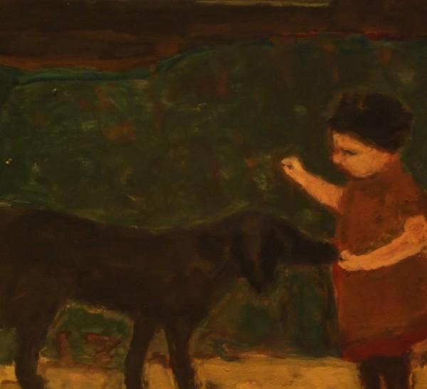 Bridget Moore Wait gouache Frame: 32 x 28 cm Artwork: 14 x 15 cm