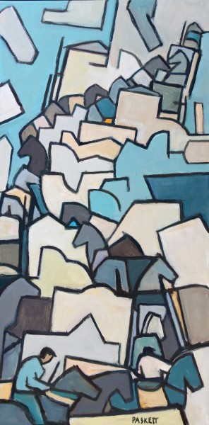 David Paskett Greek Island Mules (with Blue) oil Frame: 83 x 43 cm Artwork: 80 x 40 cm