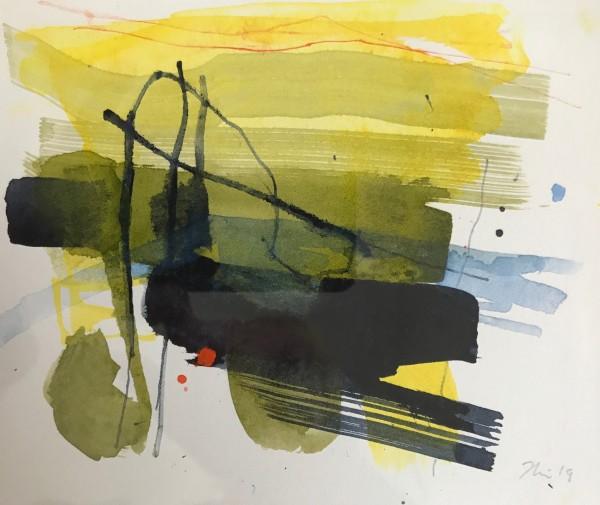 Jane Lewis Straggler watercolour Artwork: 14 x 17 cm Frame: 27 x 29 cm