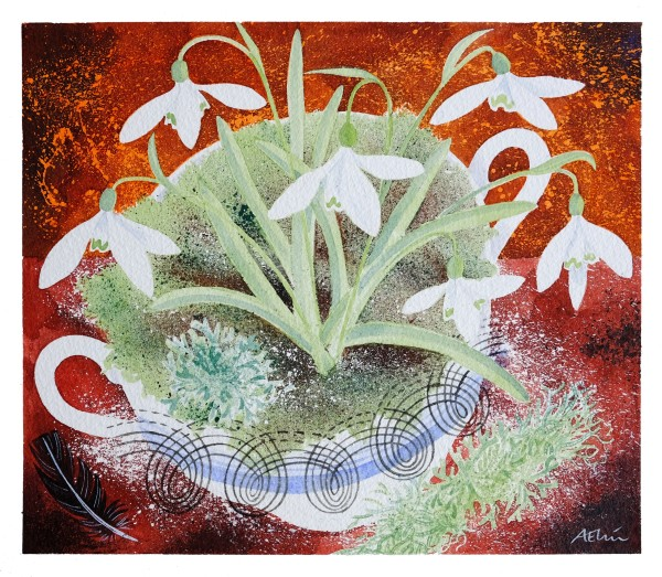 Angie Lewin Persephone Snowdrops watercolour Artwork: 25.5 x 22cm