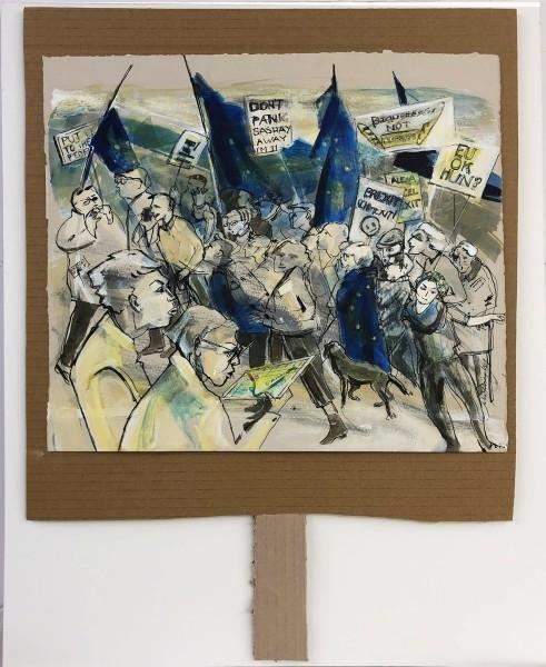 Julia Midgley Placard mixed media Frame: 67 x 56 cm Artwork: 56 x 43 cm