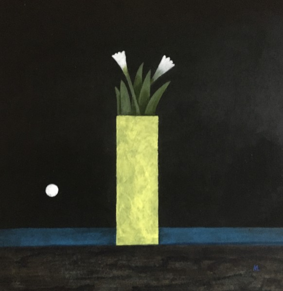 Martin Leman Evening Flowers acrylic on card Frame: 54 x 54 cm Artwork: 40 x 49 cm