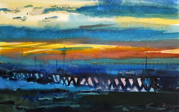 Francis Bowyer The Harbour at Sunset watercolour & body colour Artwork: 18 x 28 cm Frame: 34 x 44 cm