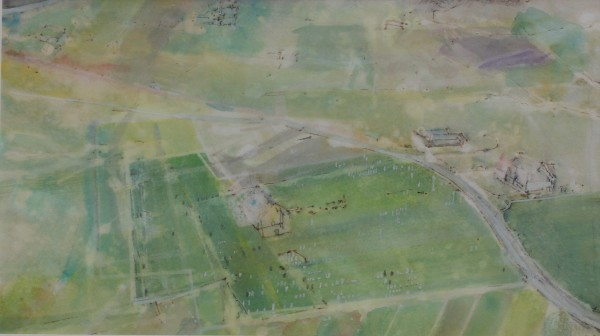 David Hamilton Over Mainland ink, watercolour & gouache Frame: 50 x 70 cm Artwork: 26 x 46 cm