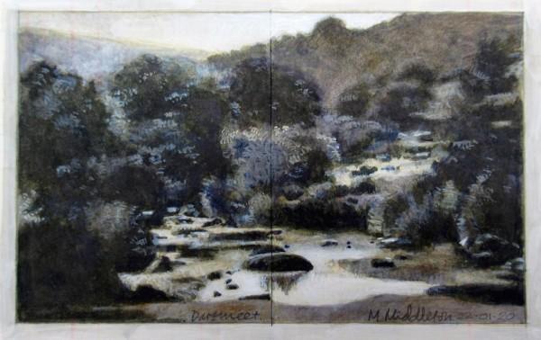 Mike Middleton Dartmeet acrylic & watercolour Frame: 29.5 x 35 cm Artwork: 10 x 16 cm