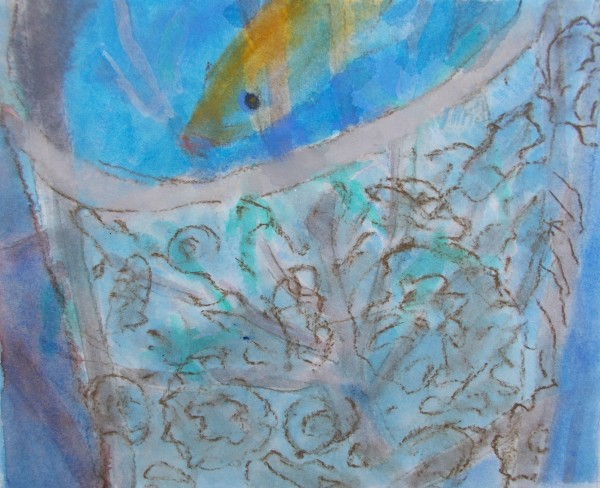 Anne Marlow Carved Font watercolour, pastel & gouache