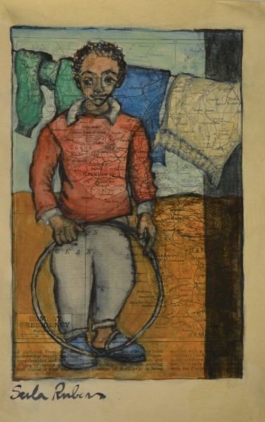 Sula Rubens Boy with Hoop watercolour on map paper Artwork: 15.5 x 23.5cm