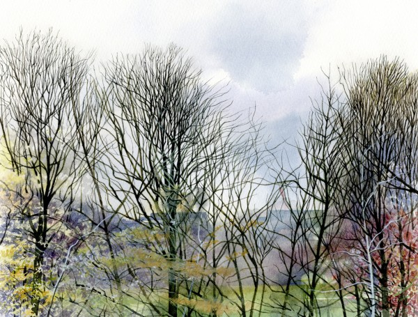 Liz Butler The Park Trees in March watercolour Frame: 21 x 28 cm Artwork: 30 x 40 cm