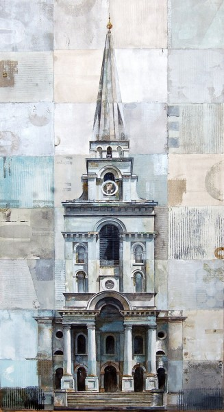 Stuart Robertson Christchurch Spitalfields London watercolour & collage Frame: 93 x 59 cm Artwork: 68 x 37 cm