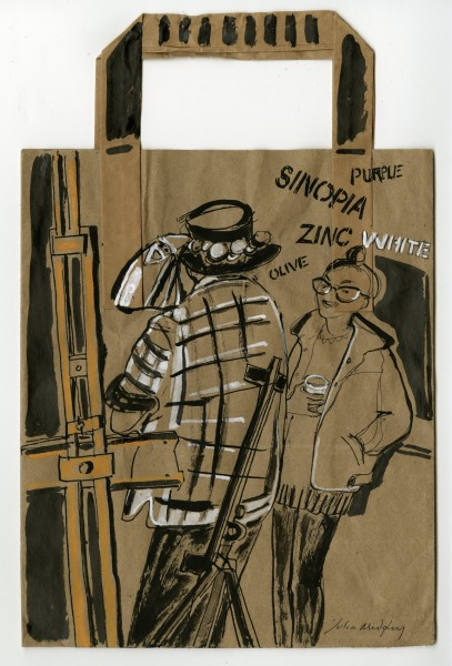 Julia Midgley Coffee Bag Easel ink & acrylic ink 50x43cm