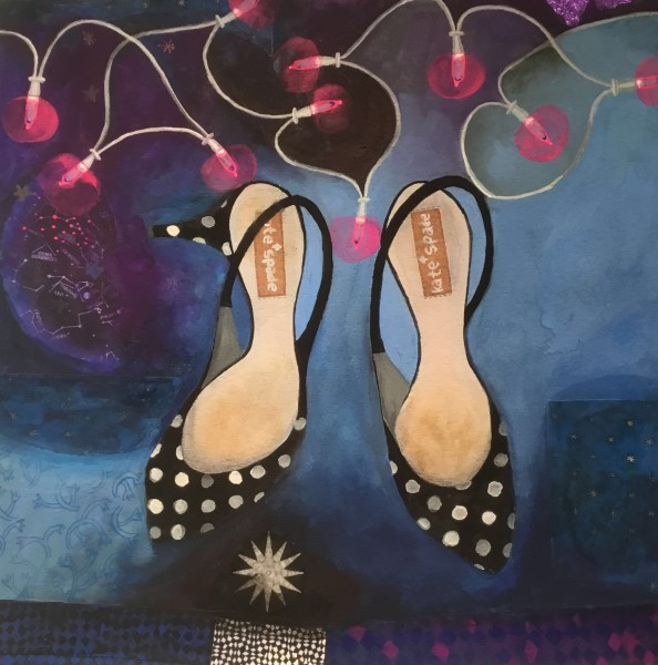 Gertie Young Kitten Heels with Fairy Lights watercolour, gouache & collage 50x50cm