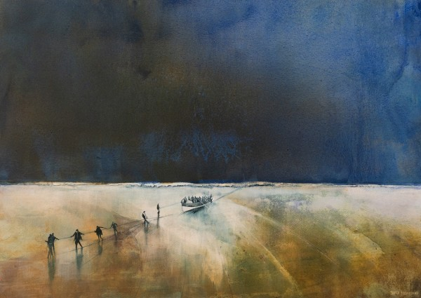 David Firmstone MBE Pulling in the Gem, Isle of Wight watercolour on gesso Frame: 100 x 130 cm