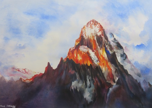 Neil Pittaway Mount Ushba at dusk in the Georgian Caucasus watercolour Frame: 72 x 91 cm Artwork: 50 x 70 cm