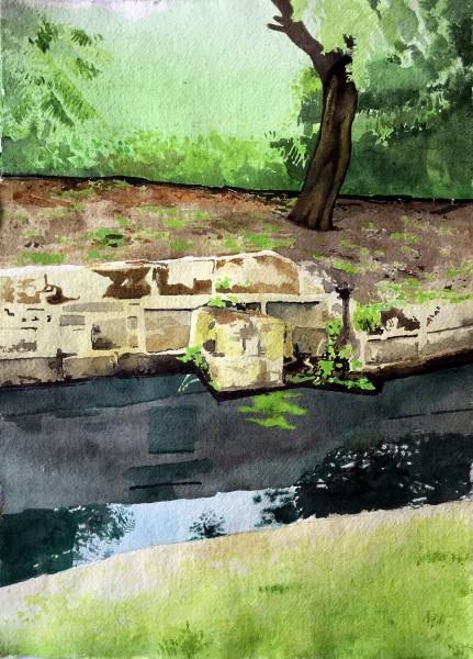 Iain Nicholls Elsecar Canal Study acrylic Frame: 60 x 50 cm Artwork: 40 x 29 cm