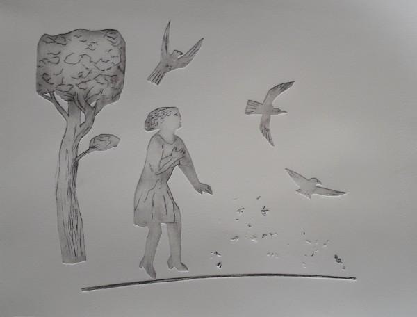 Richard Sorrell Birdfeeder tetrapak etching Frame: 29 x 38 cm Artwork: 24 x 33 cm