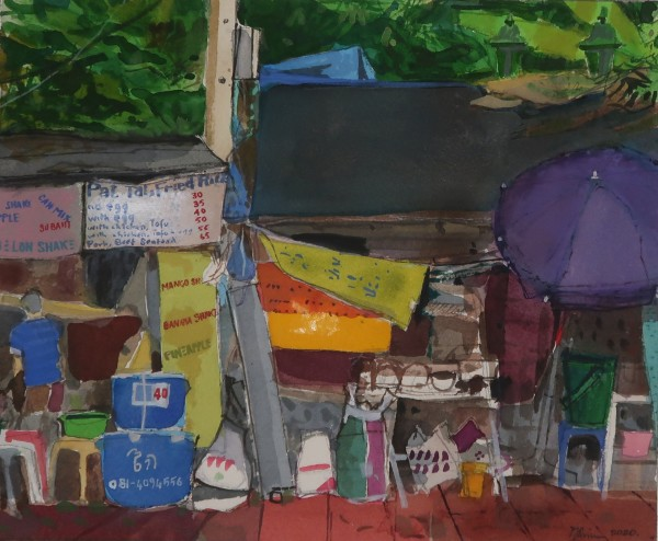 Peter Quinn Street Food Stalls, Bangkok watercolour on paper Frame: 45 x 50 cm Artwork: 24 x 29 cm