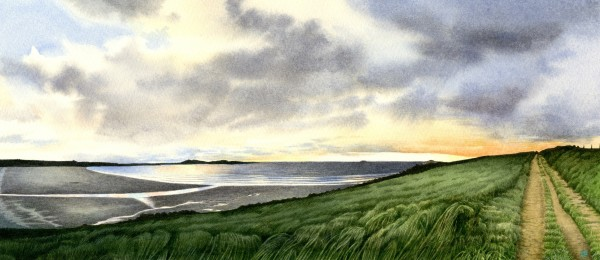 Liz Butler Whitesands watercolour Artwork: 35 x 15.5cm