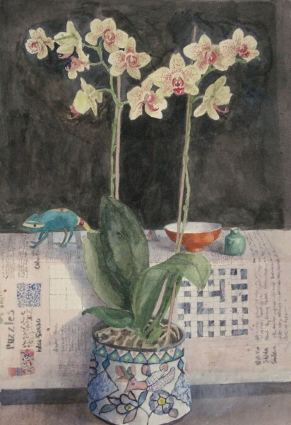 Annie Williams Orchid watercolour 72x50cm