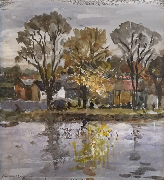 Jane Corsellis Autumn on the Thames, Chiswick watercolour 41 x 39cm