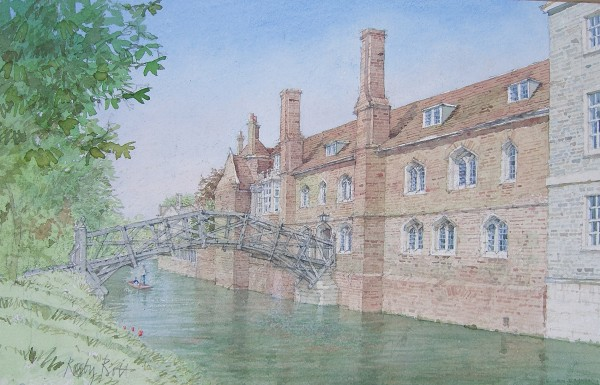 Dennis Roxby Bott Queens' College Cambridge watercolour 40x57cm