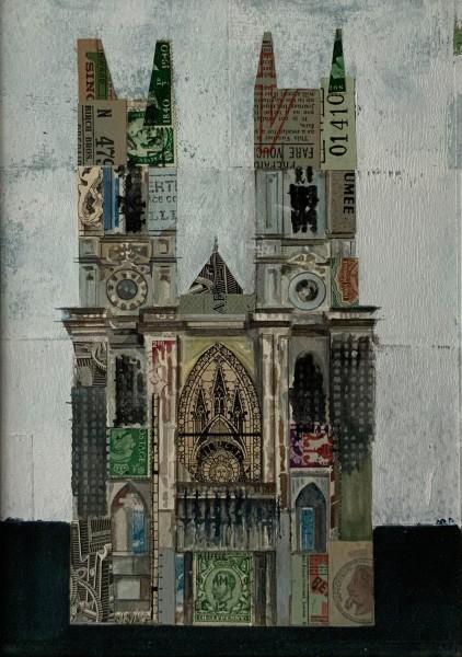 Stuart Robertson Westminster Abbey Study 1 watercolour & collage Frame: 38 x 31 cm Artwork: 23 x 16 cm