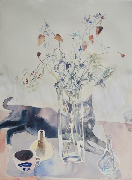 Sophie Knight, Black Cat Peeking Through Glass Vase, with Thistles and Dried Chinese Lanterns