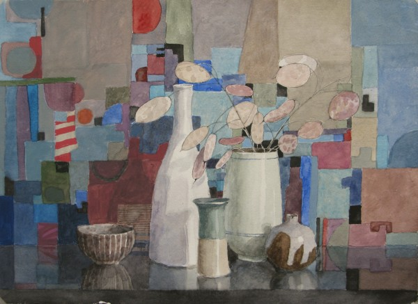 Annie Williams Still Life with Five Pots watercolour & gouache Artwork: 37 x 27cm